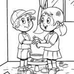 Coloring page siblings brother sister