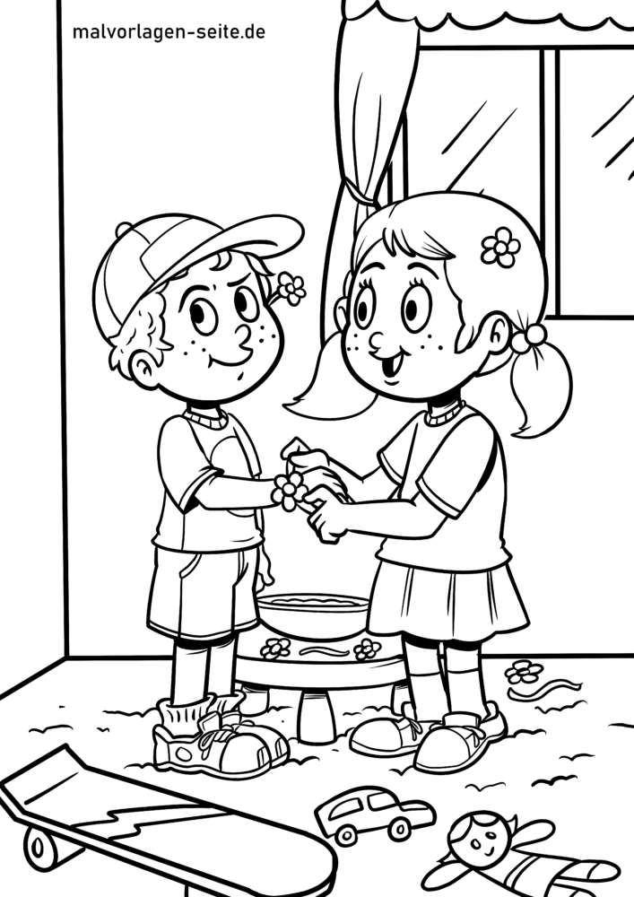 Coloring page siblings
