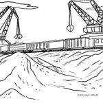 Coloring page freight train railroad