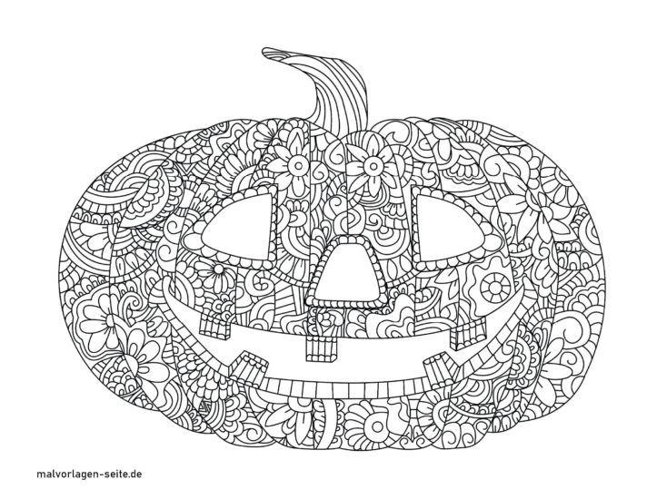 malvorlage halloween mandala kürbis  kostenlose ausmalbilder