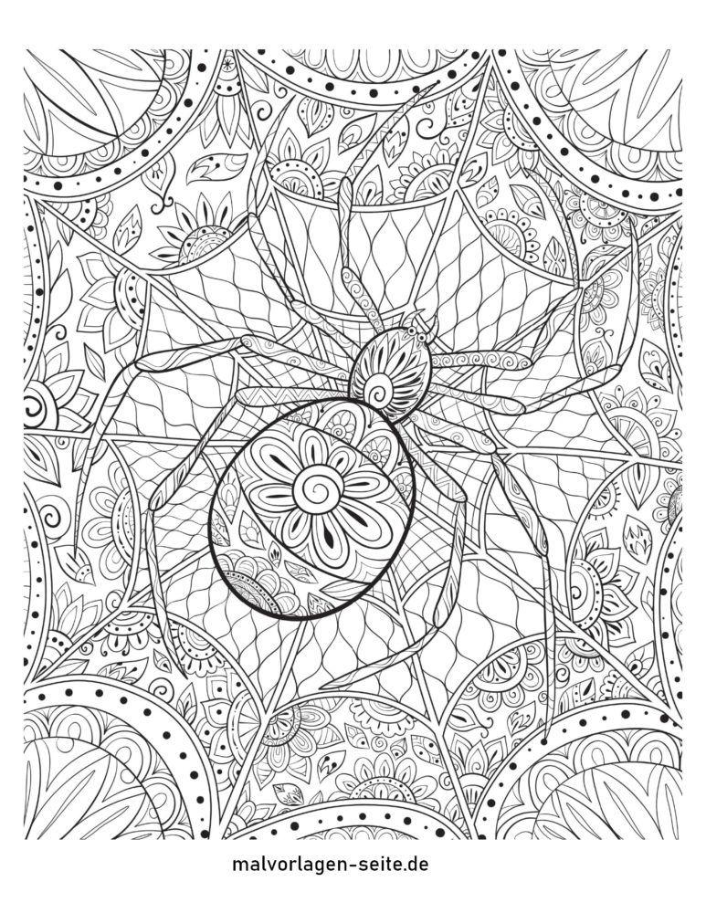 Coloring page Halloween mandala spider