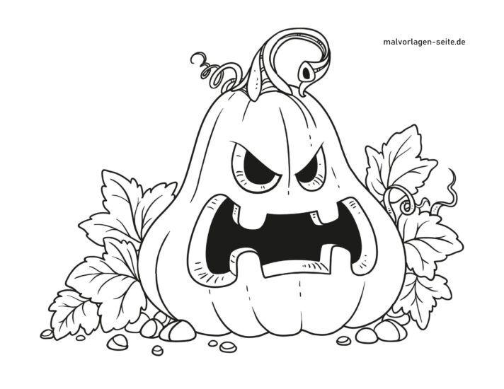 Malvorlage Halloween Kürbis
