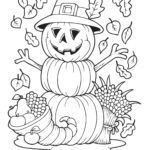 Coloring page Halloween pumpkin man