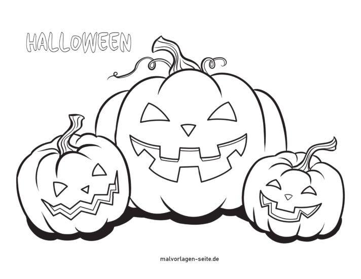 Coloring page Halloween pumpkins