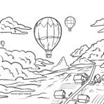 Coloring page hot air balloon | To fly