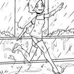 Koloriga paĝo dancanta sub la pluvo