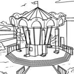 Coloring page chain carousel | Fun fair leisure time