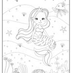Coloring page mermaid
