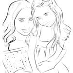 Coloring page mother and daughter | family
