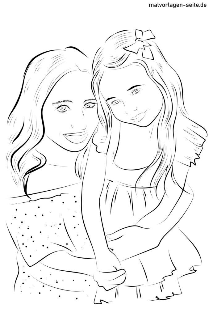 Coloring page mother and daughter