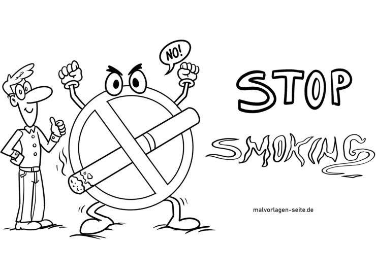 Malvorlage Nichtraucher Symbol zum Ausmalen