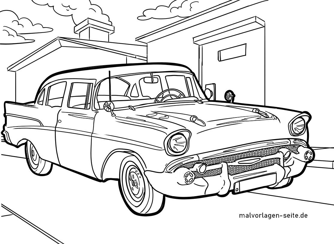 Malvorlage Oldtimer Auto - Kostenlose Ausmalbilder