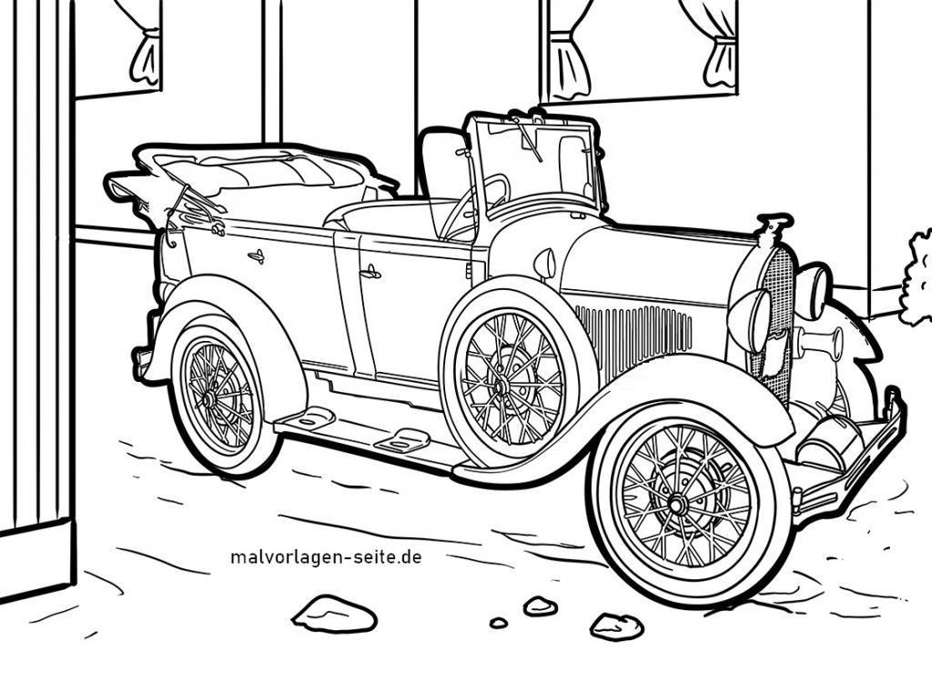 Malvorlage / Ausmalbild Oldtimer Auto