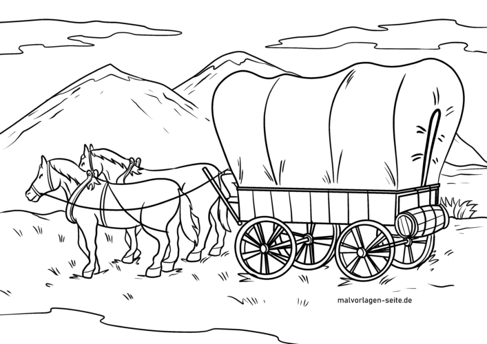 Coloring page horse cart