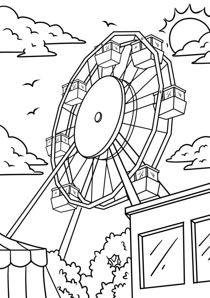 Coloring page ferris wheel / fair