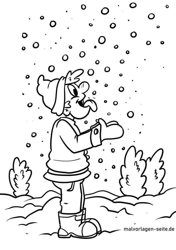 Malvorlage Schneeflocken fangen