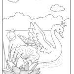 Tegninger til farvelægning svane med en krone
