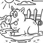 Tegninger til farvelægning gris | gård