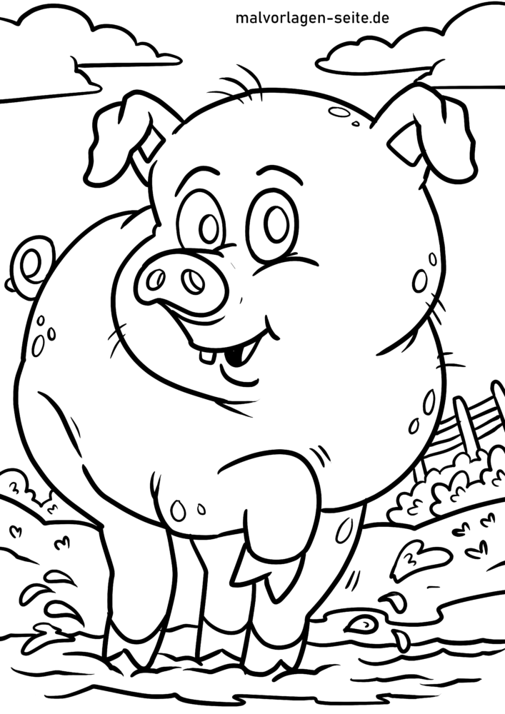 Coloring page piglet