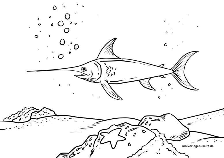 Páxina para colorear peixe espada