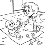 Coloring page girl with baby
