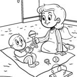 Coloriage soeur avec bébé