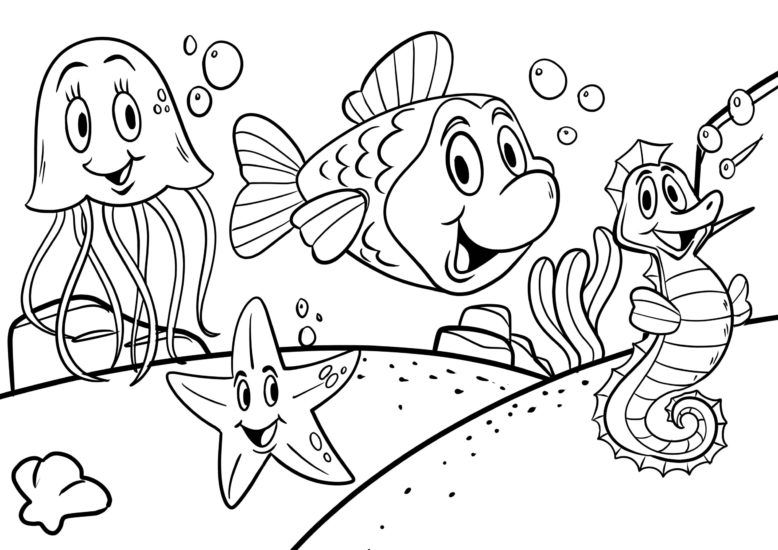 Coloring page animals underwater - underwater world