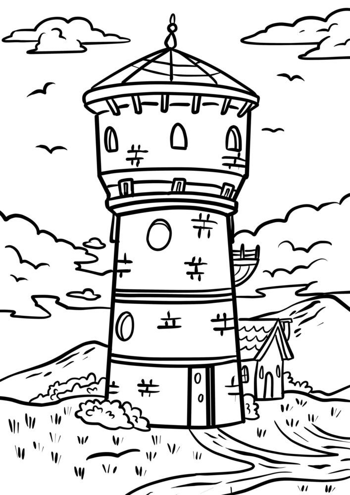 Coloring page water tower
