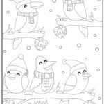 Coloring page birds in winter