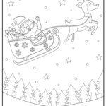 Coloring page Christmas reindeer sleigh