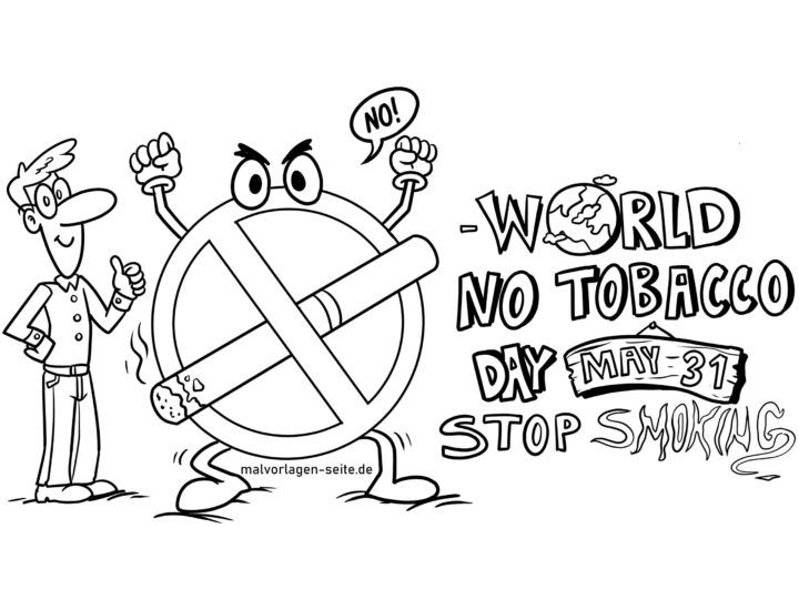 Coloring page world no smoking day