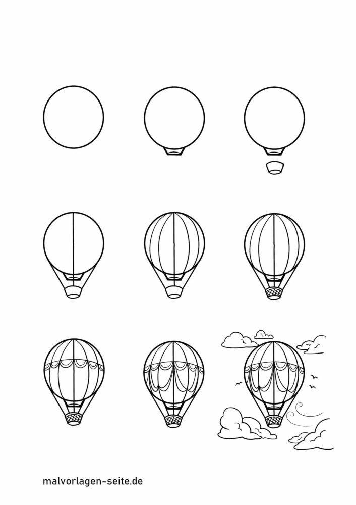 Wie zeichnet man einen Heißluftballon