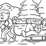 Coloring page pulling a sleigh
