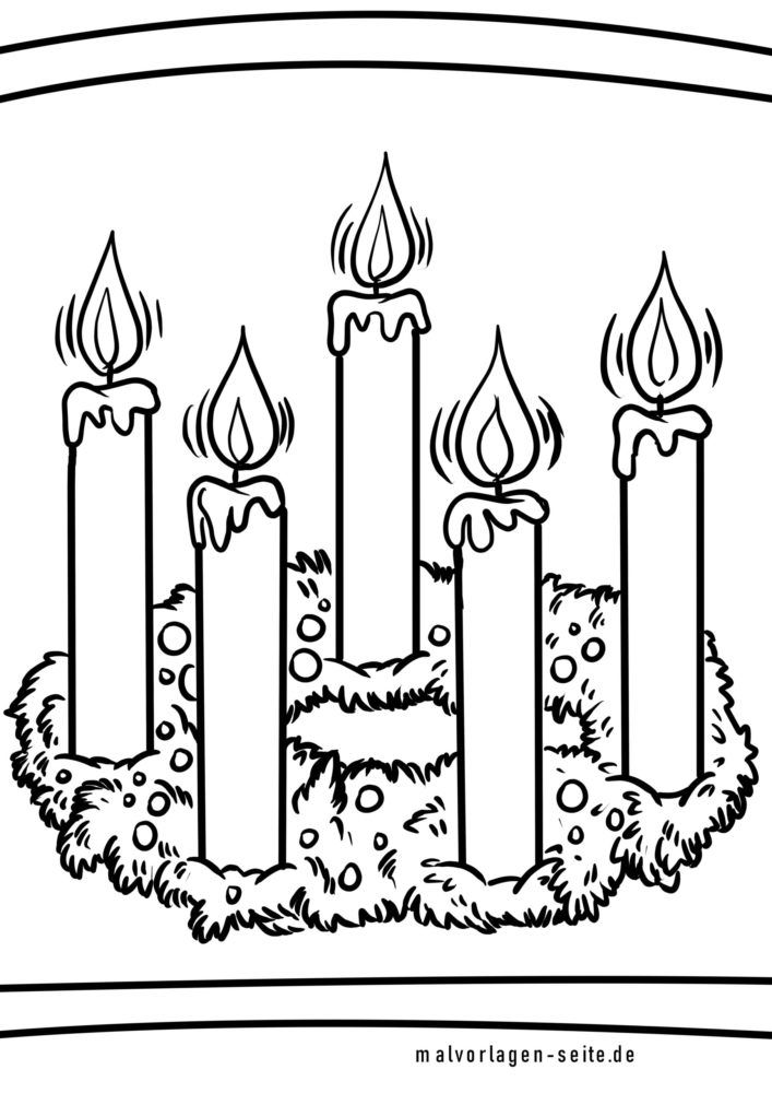 Coloring Page Advent Wreath / Advent Holidays - Free Coloring Pages