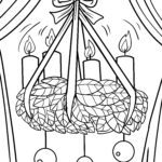 Coloring page Christmas wreath decoration | public holidays