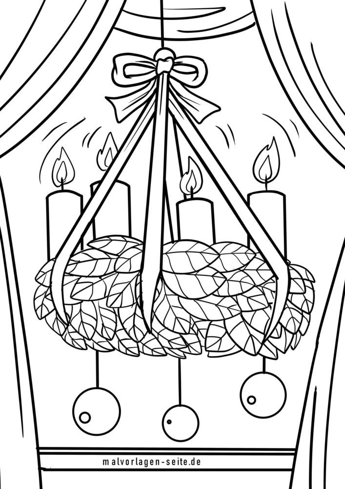 Halaman mewarnai karangan bunga Advent