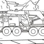 Coloring page truck crane