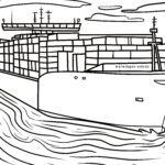 Coloring page container ship | Ships
