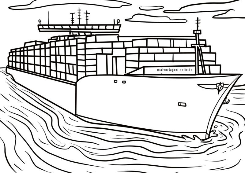 Coloring page container ship