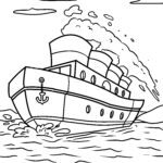 Coloring page steamship | Ships