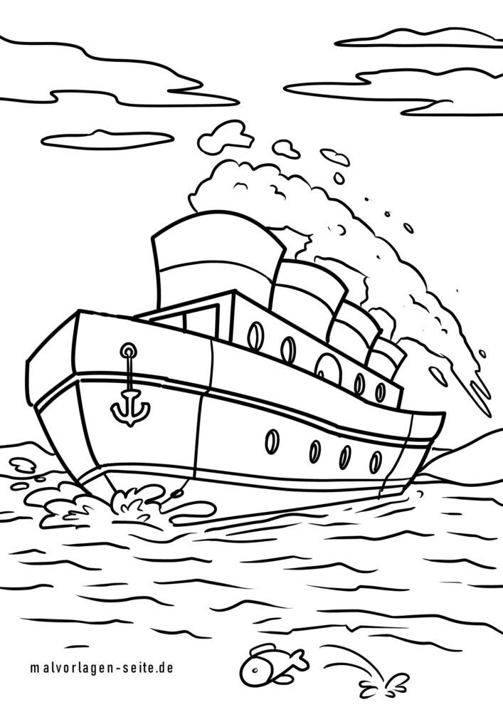Coloring page steamship