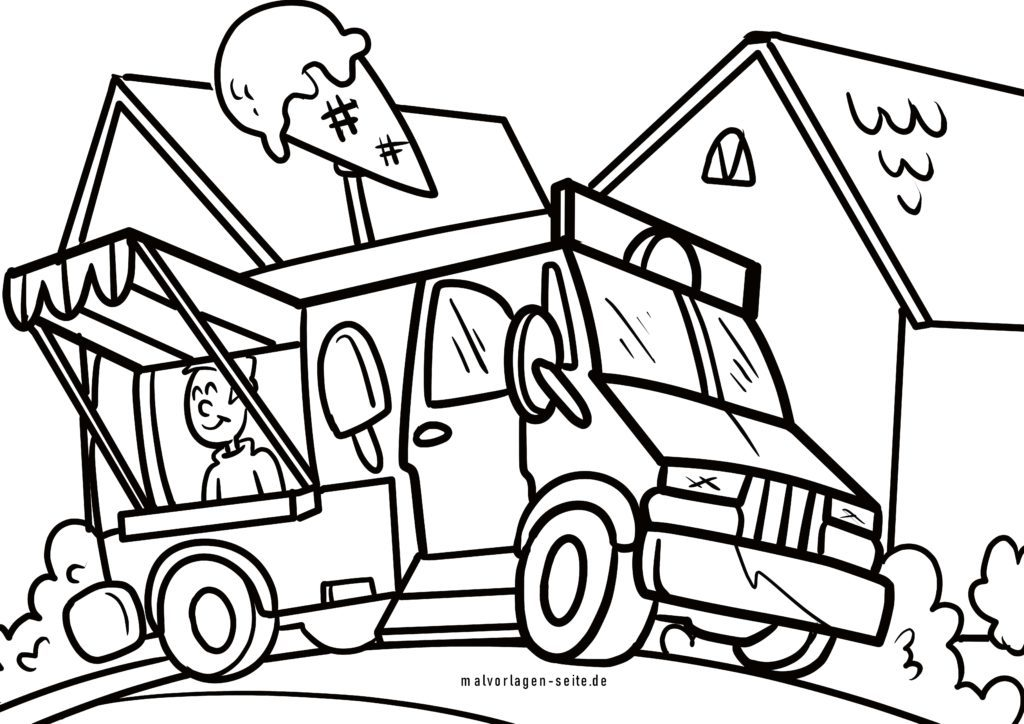 Coloring Page Ice Cream Truck Vehicles - Free Coloring Pages
