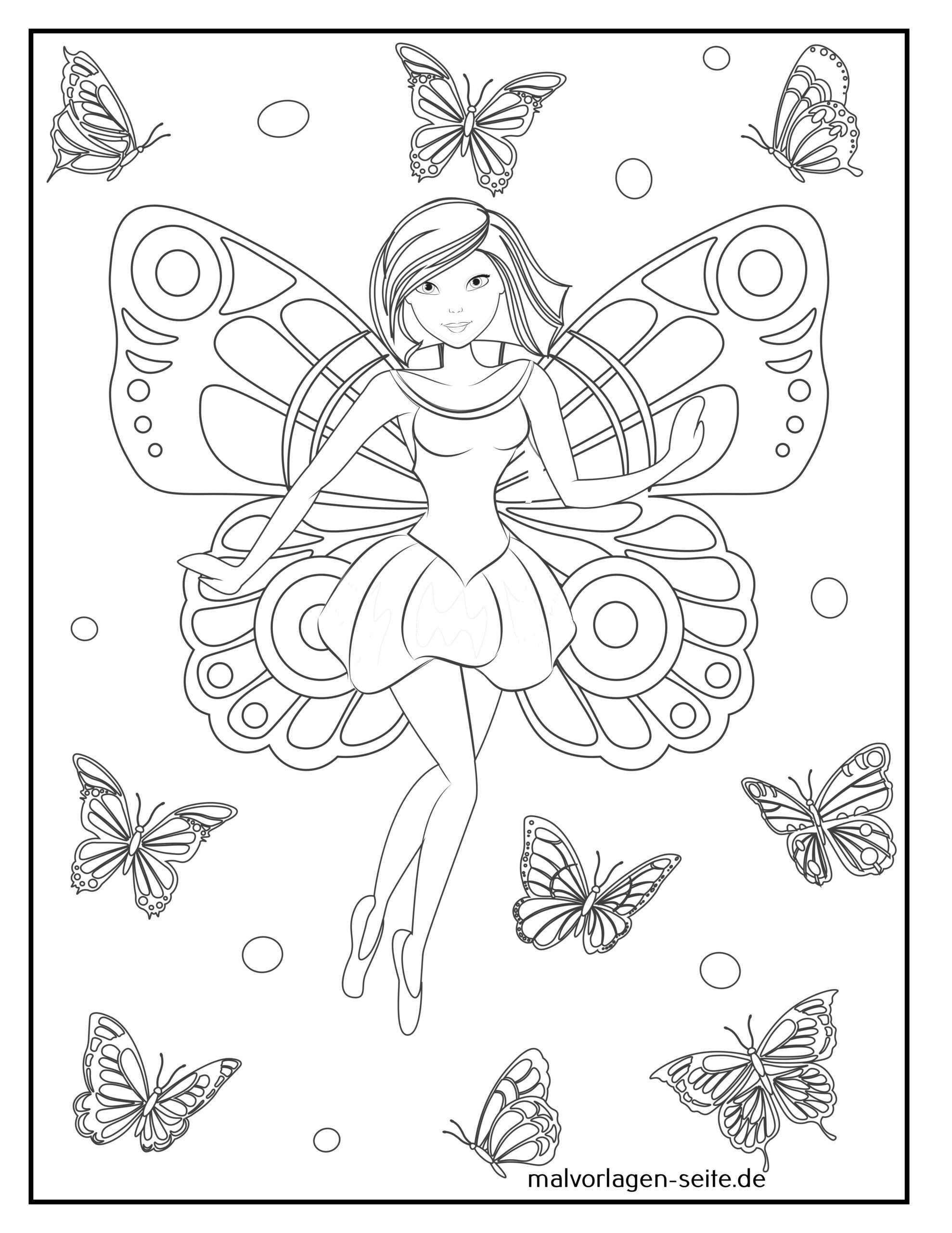 Coloring page butterfly elf