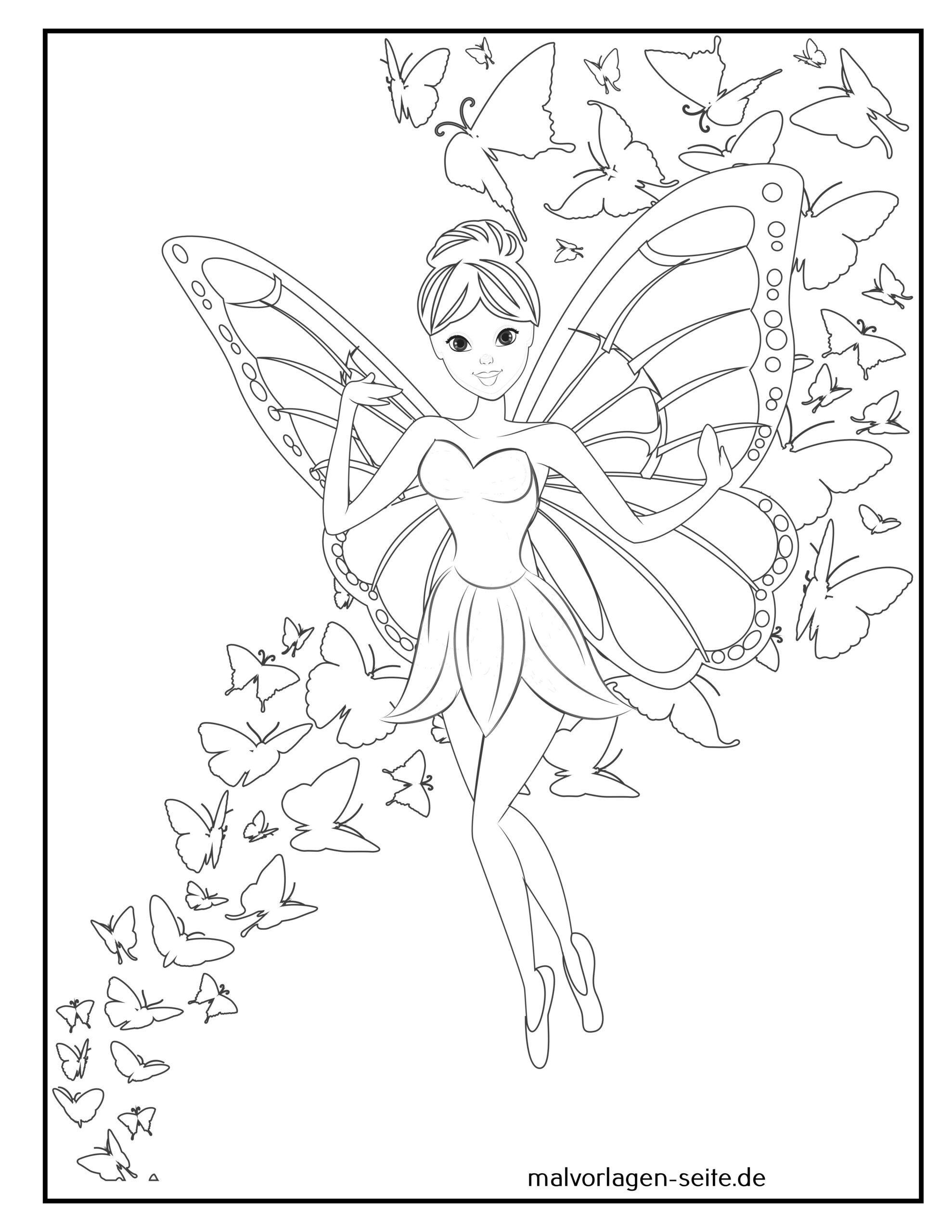 Malvorlage Elfe / Fee mit Schmetterlingen