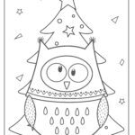 Coloring page owl by the Christmas tree