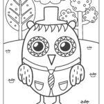 Coloring page owl with hat