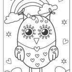 Coloring page owl with rainbow