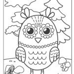 Coloring page owl with trees
