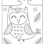 Coloring page sleeping owl