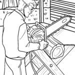 Coloring page chainsaw tool